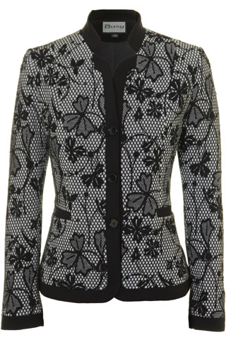 Click for larger image of: Black & White Flowers Jacket Style: 44481