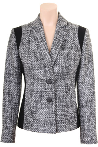 Click for larger image of: Black and White Boucle Jacket Style: 44460