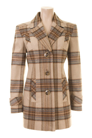 Click for larger image of: Beige Check Coat Style: 44400