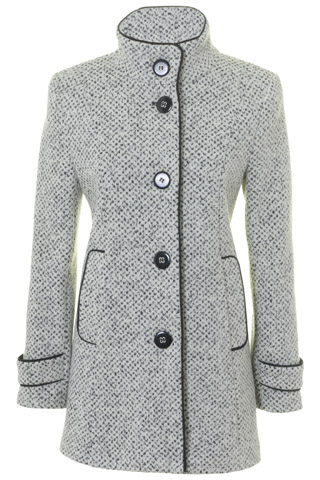 Click for larger image of: White & Black Tweed Coat Style: 44452