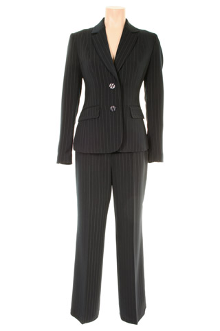 Click for larger image of: Stripe Black Trouser Suit Style: 44385 / 44386