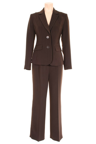 Click for larger image of: Stripe Brown Trouser Suit Style: 44385 / 44386