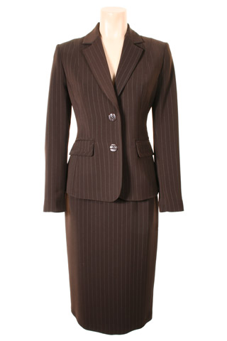 Click for larger image of: Stripe Brown Skirt Suit Style: 44385 / 44387