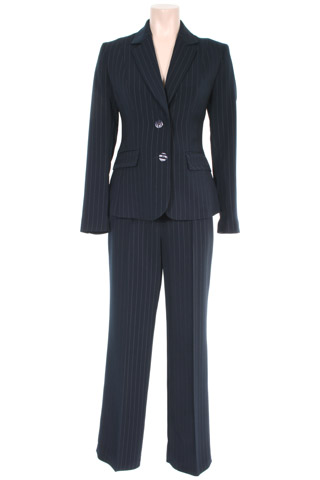 Click for larger image of: Stripe Navy Trouser Suit Style: 44385 / 44386