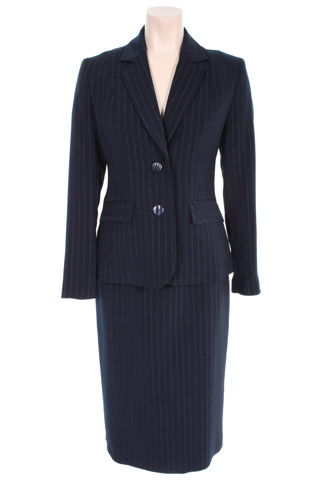 Click for larger image of: Stripe Navy Skirt Suit Style: 44385 / 44387