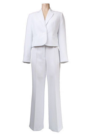 Click for larger image of: White Trouser Suit Style: 44410 / 44340